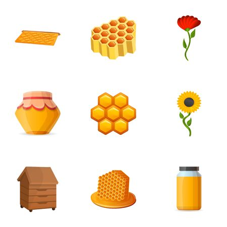 Pollen honey icon set. Cartoon set of 9 pollen honey vector icons for web design isolated on white background