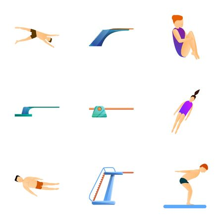 Diving board sport icon set. Cartoon set of 9 diving board sport vector icons for web design isolated on white background