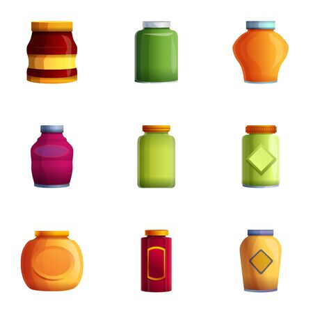 Home jam jar icon set. Cartoon set of 9 home jam jar vector icons for web design isolated on white background