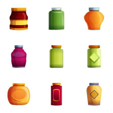 Jeu d'icônes de pot de confiture maison. Ensemble de dessin animé de 9 icônes vectorielles de pot de confiture maison pour la conception web isolé sur fond blanc Vecteurs