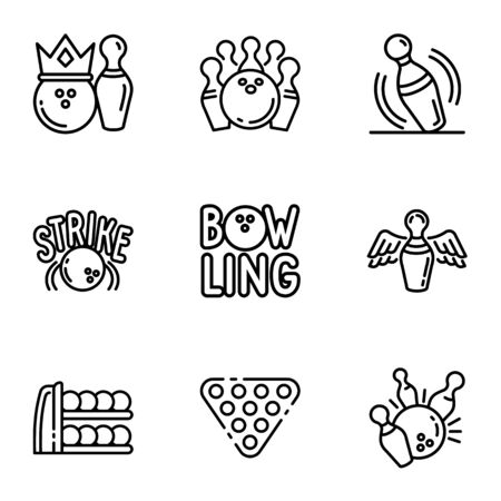 Bowling club icon set. Outline set of 9 bowling club vector icons for web design isolated on white background