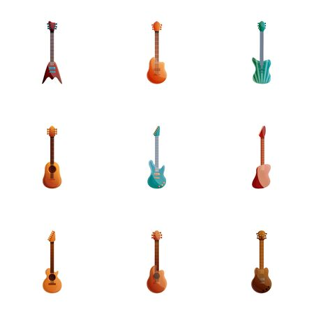 Rock guitar icon set. Cartoon set of 9 rock guitar vector icons for web design isolated on white background Illustration