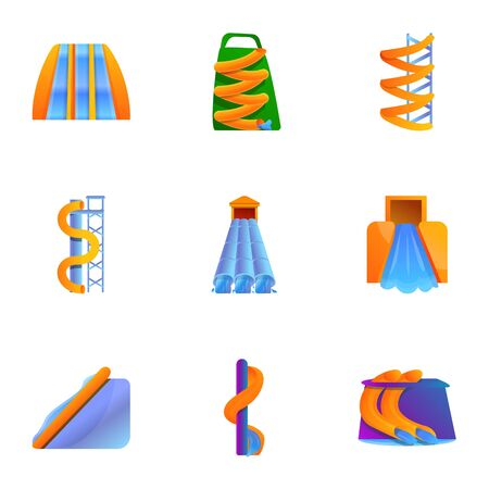Waterpark icon set. Cartoon set of 9 waterpark vector icons for web design isolated on white background
