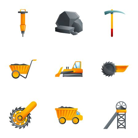 Coal extraction icon set. Cartoon set of 9 coal extraction vector icons for web design isolated on white background