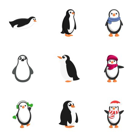 Jeu d'icônes de pingouin de Noël. Ensemble de dessin animé de 9 icônes vectorielles de pingouin de Noël pour la conception web isolé sur fond blanc Vecteurs