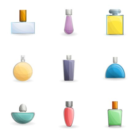 Cologne bottle icon set. Cartoon set of 9 cologne bottle vector icons for web design isolated on white background