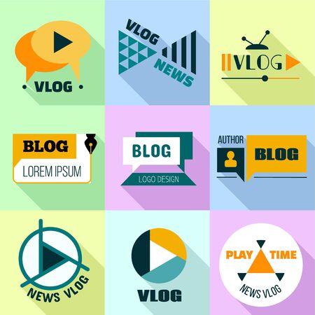 Vlog news logo set. Flat set of 9 vlog news vector logo for web design isolated on white background Ilustração