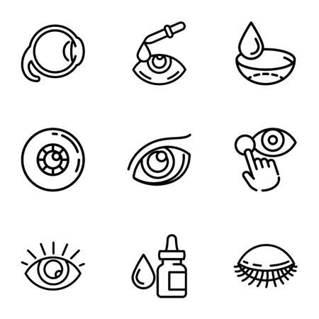 Optical eye care icon set. Outline set of 9 optical eye care vector icons for web design isolated on white background 일러스트