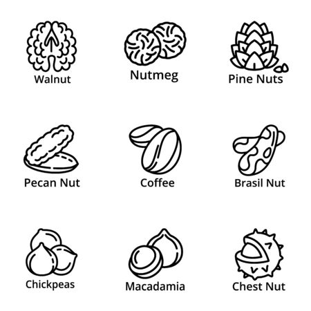 Nutrition nuts icon set. Outline set of 9 nutrition nuts vector icons for web design isolated on white background