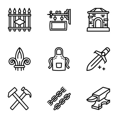 Blacksmith collection icon set. Outline set of 9 blacksmith collection vector icons for web design isolated on white background Vettoriali