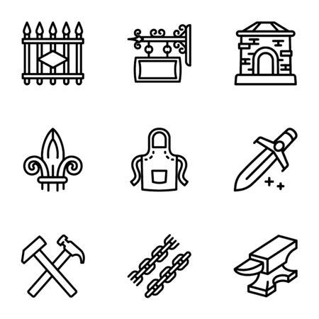 Schmied Sammlung Icon-Set. Umrisssatz von 9 Schmiedesammlungsvektorikonen für das Webdesign lokalisiert auf weißem Hintergrund