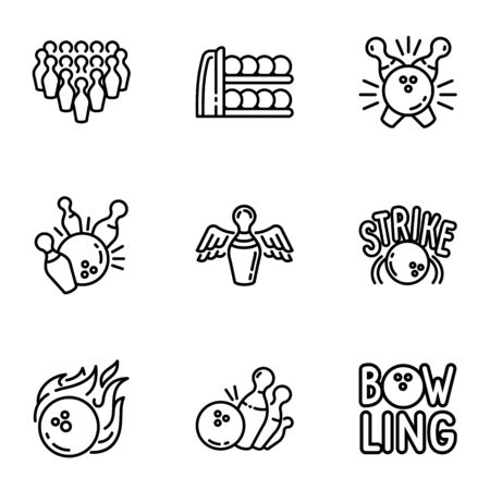 Bowling championship icon set. Outline set of 9 bowling championship vector icons for web design isolated on white background