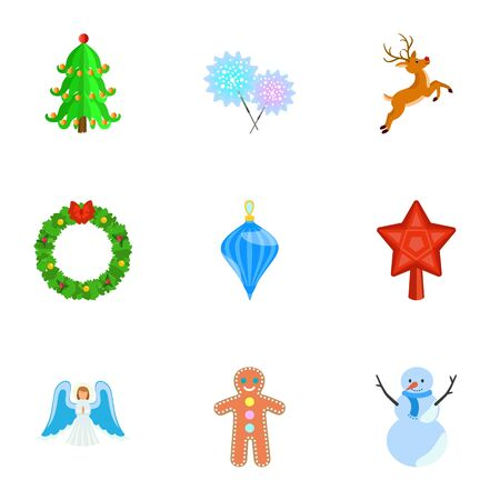 Winter activity icon set. Flat set of 9 winter activity vector icons for web design isolated on white background  イラスト・ベクター素材