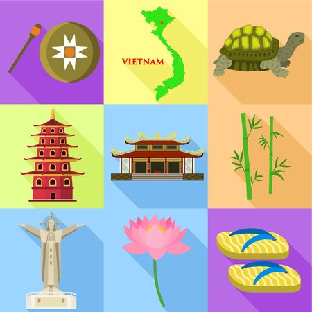 Vietnam country icon set. Flat set of 9 vietnam country vector icons for web design isolated on white background Illustration