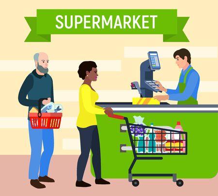 Supermarket concept background. Flat illustration of supermarket vector concept background for web design