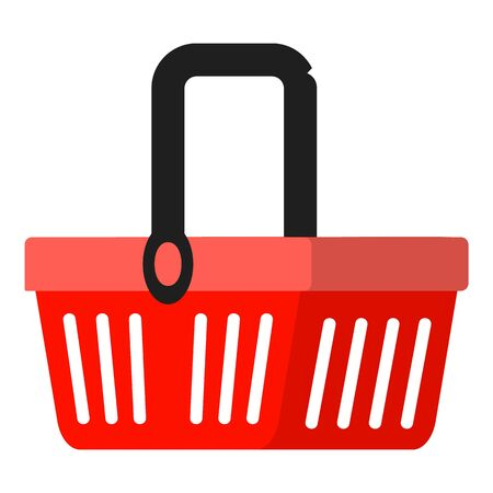 Red shop basket icon. Flat illustration of red shop basket vector icon for web design