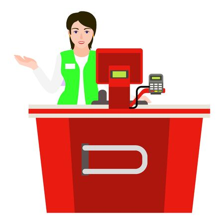 Young woman cashier icon. Flat illustration of young woman cashier vector icon for web design