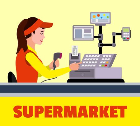 Supermarket cashier concept background. Flat illustration of supermarket cashier vector concept background for web design Ilustração