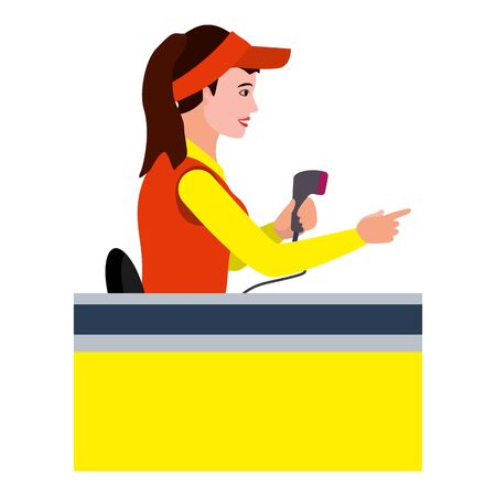 Woman cashier icon. Flat illustration of woman cashier vector icon for web design