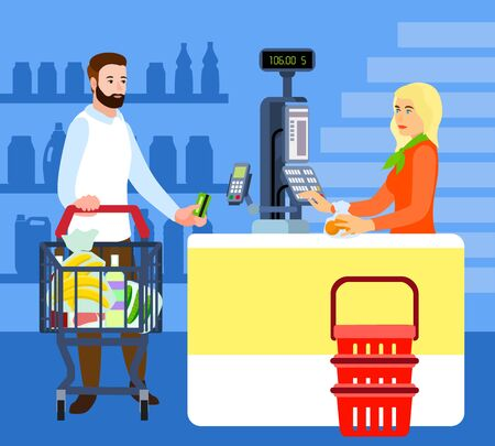 Market buyer and cashier concept background. Flat illustration of market buyer and cashier vector concept background for web design
