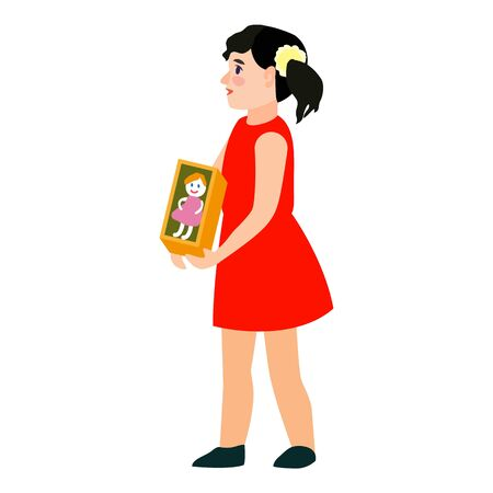 Kid girl red dress icon. Flat illustration of kid girl red dress vector icon for web design
