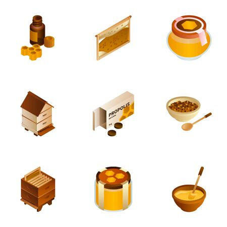 Eco golden honey icon set. Isometric set of 9 eco golden honey vector icons for web design isolated on white background