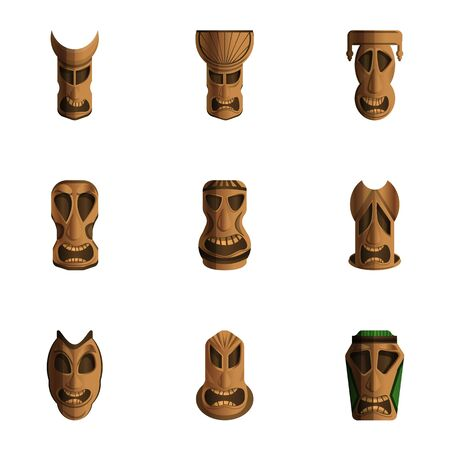 Totem idol icon set. Cartoon set of 9 totem idol vector icons for web design isolated on white background