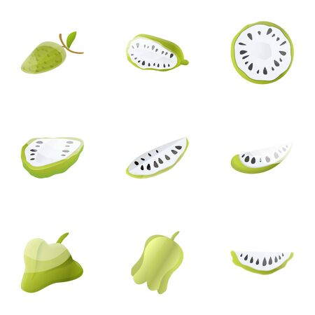 Exotic soursop icon set. Cartoon set of 9 exotic soursop vector icons for web design isolated on white background Illustration