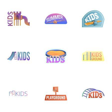 Amusement kids playground logo set. Cartoon set of 9 amusement kids playground vector logo for web design isolated on white background