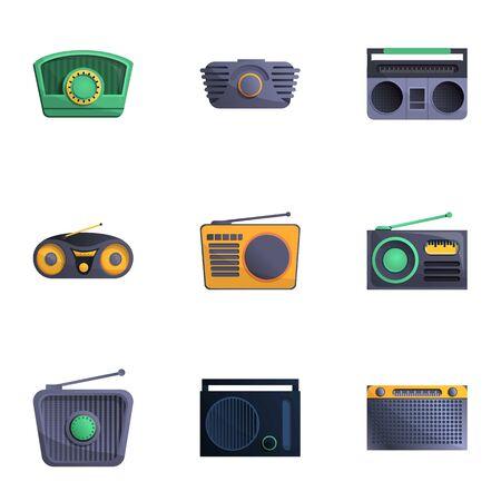 Retro radio icon set. Cartoon set of 9 retro radio vector icons for web design isolated on white background