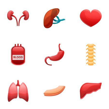 Hospital human organs transplant icon set. Cartoon set of 9 hospital human organs transplant vector icons for web design isolated on white background