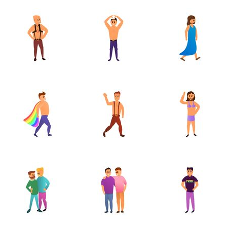 Lgbt people group icon set. Cartoon set of 9 lgbt people group vector icons for web design isolated on white background