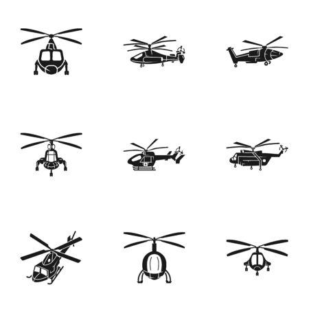 Conjunto de iconos de viaje en helicóptero. Conjunto simple de 9 iconos de vector de viaje en helicóptero para diseño web aislado sobre fondo blanco