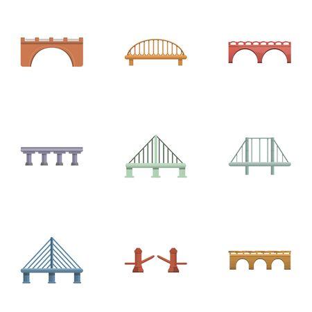 Travel bridge icon set. Cartoon set of 9 travel bridge vector icons for web design isolated on white background