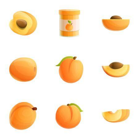 Eco peach icon set. Cartoon set of 9 eco peach vector icons for web design isolated on white background Ilustração