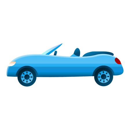 Blue small cabriolet icon. Cartoon of blue small cabriolet vector icon for web design isolated on white background