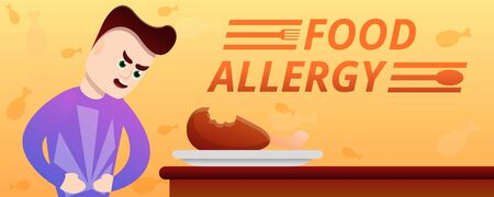 Food allergy concept banner. Cartoon illustration of food allergy vector concept banner for web design