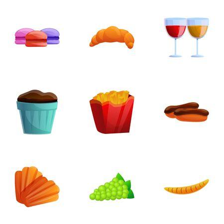 French national food icon set. Cartoon set of 9 french national food vector icons for web design isolated on white background