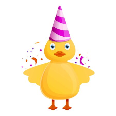 Yellow duck birthday icon. Cartoon of yellow duck birthday vector icon for web design isolated on white background
