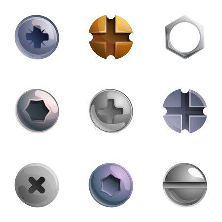 Conjunto de iconos de cabeza de tornillo de metal. Conjunto de dibujos animados de 9 iconos de vector de cabeza de tornillo de metal para diseño web aislado sobre fondo blanco Ilustración de vector