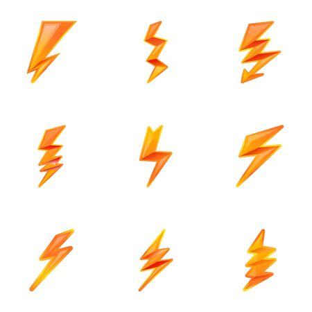 Powerful lightning bolt icon set. Cartoon set of 9 powerful lightning bolt vector icons for web design isolated on white background Ilustracja