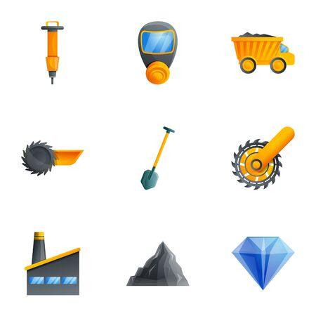 Coal extract mine icon set. Cartoon set of 9 coal extract mine vector icons for web design isolated on white background Ilustracja