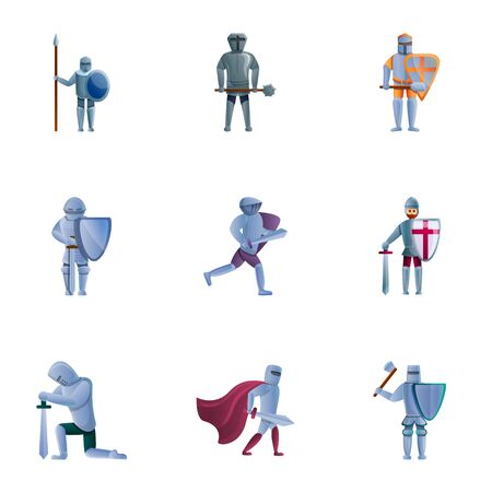 Crusader knights icon set. Cartoon set of 9 crusader knights vector icons for web design isolated on white background Ilustracja