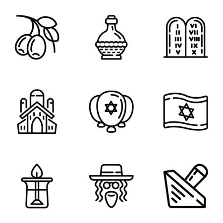 Jewish objects icon set. Outline set of 9 jewish objects vector icons for web design isolated on white background