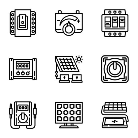 Modern solar energy icon set. Outline set of 9 modern solar energy vector icons for web design isolated on white background Ilustracja