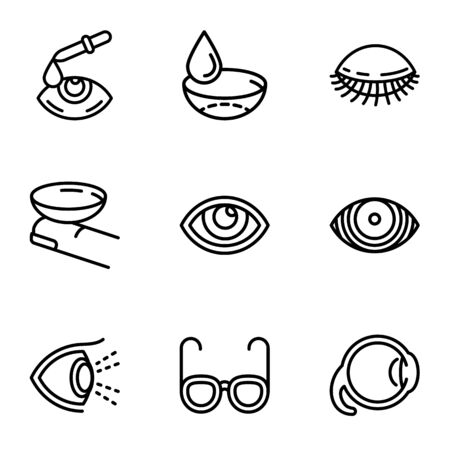 Eyeball care icon set. Outline set of 9 eyeball care vector icons for web design isolated on white background