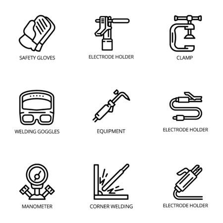 Welding industry icon set. Outline set of 9 welding industry vector icons for web design isolated on white background