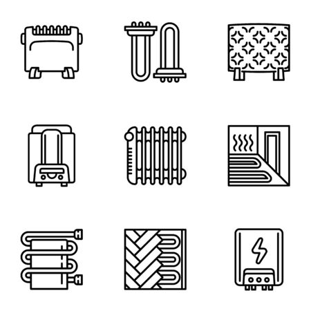 House modern heating icon set. Outline set of 9 house modern heating vector icons for web design isolated on white background