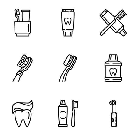 Healthy toothcare icon set. Outline set of 9 healthy toothcare vector icons for web design isolated on white background