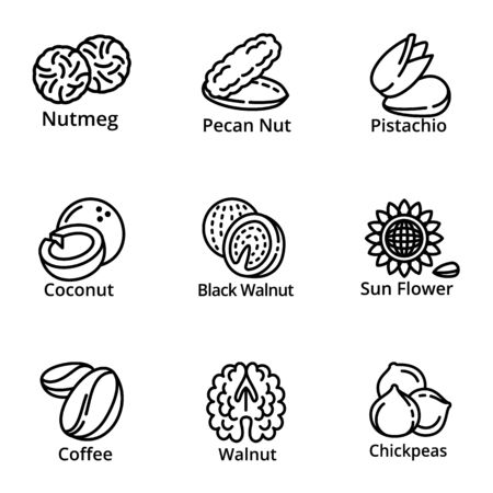 Vegan nuts icon set. Outline set of 9 vegan nuts vector icons for web design isolated on white background